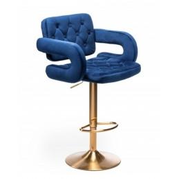 Barová stolička Melisa Gold Velur Tmavé More