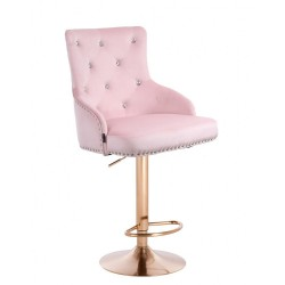 Barová stolička Marina Velur Gold Crystal Pink