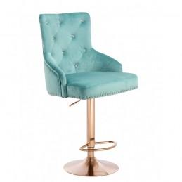 Barová stolička Marina Velur Gold Crystal Lazur