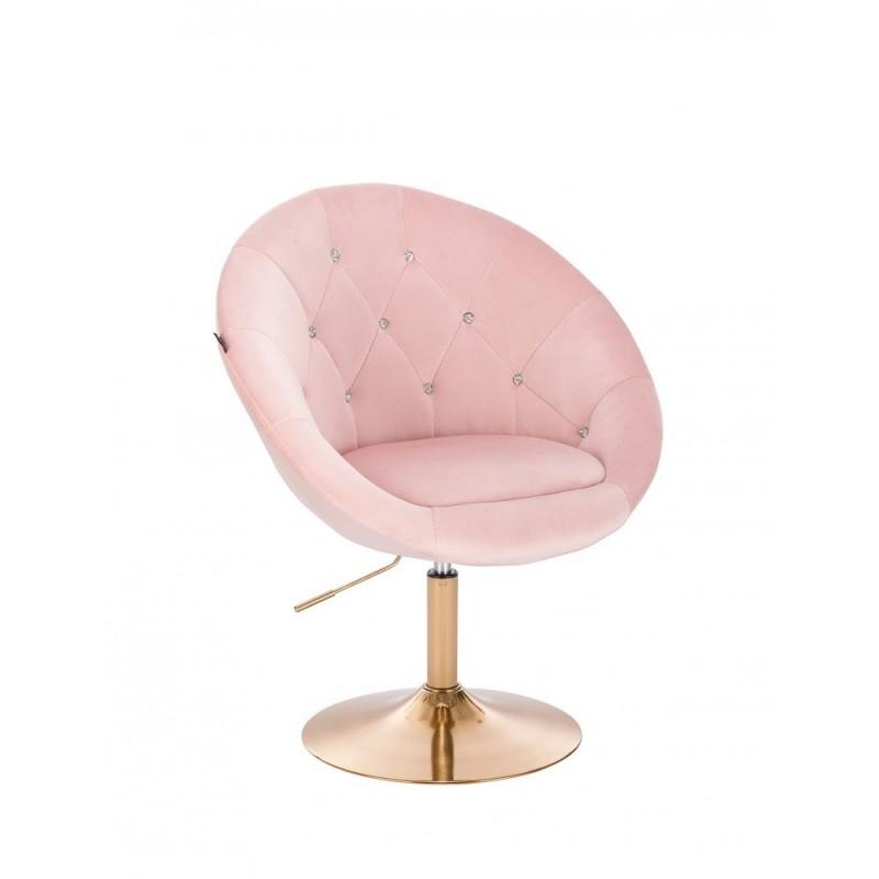 Kreslo Elegance Gold Velur Puder Stoličky, lavičky do čakárne
