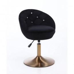 Kreslo Caramela Velur Gold Black Stoličky, lavičky do čakárne
