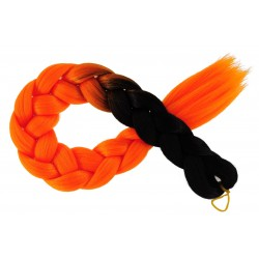 Kanekalon Čierna - Oranžova neon