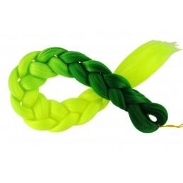 Kanekalon Tmavo zelena - Žlta neon