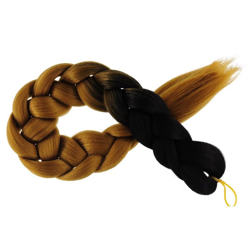 Kanekalon Čierna - Tmava blond Kanekalon dvojfarebný
