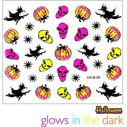 Svietiace Halloween nálepky na nechty