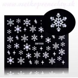 Snehové vločky na nechty Vianočné nálepky